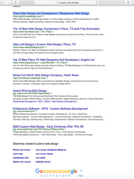seo rankings plano web design