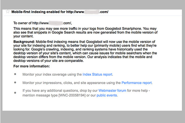 mobile first indexing notification