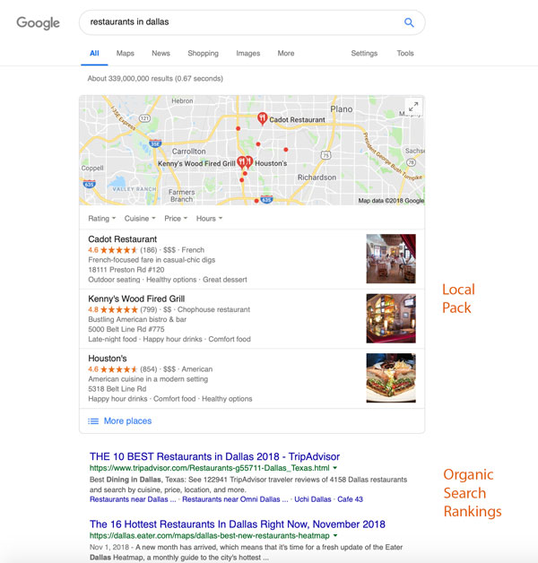 local seo search listing with local pack