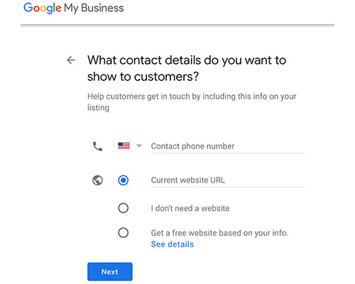 google my business contact details
