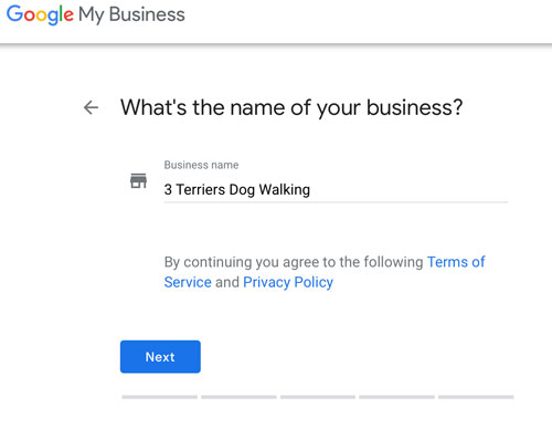 google my business- name of business