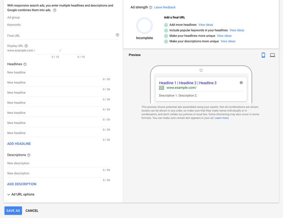Google Ads responsive search ads setup