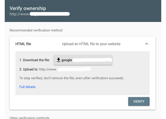 google search console HTML file upload verification