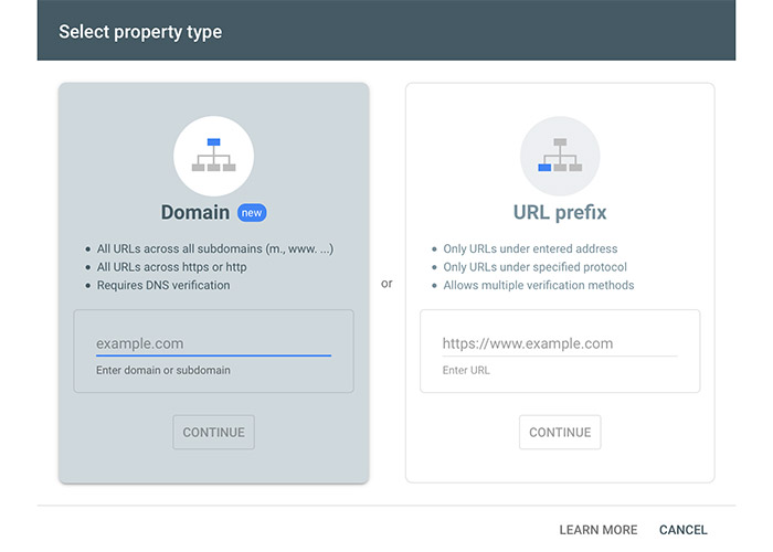 google search console property types