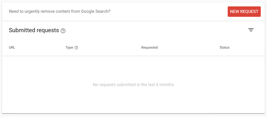 Google Search Console Removals report