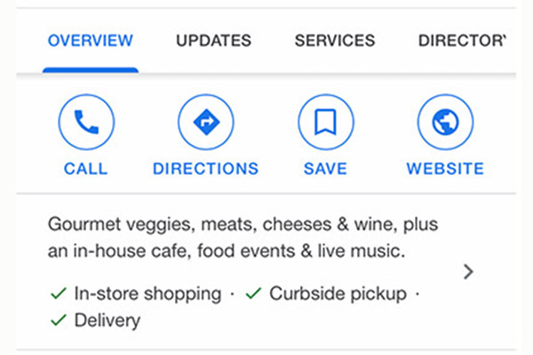 google my business food service features