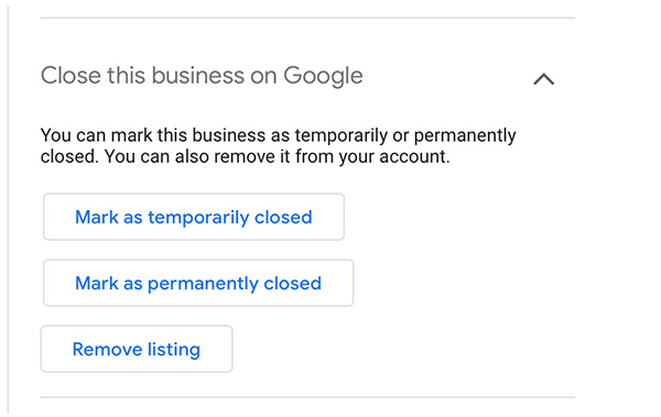 google my business temporarily closed feature