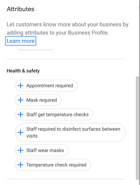 Google My Business Health and Safety Attributes