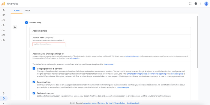 Google Analytics Account Setup Screen
