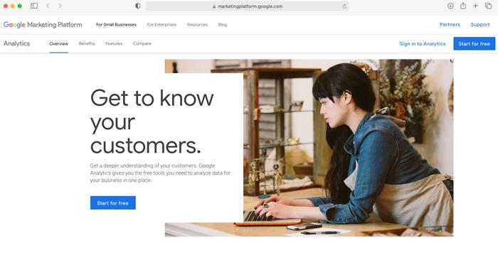 Google Analytics Set Up Start Page