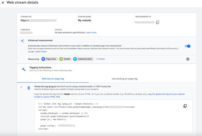 Google Analytics Setup Web Stream Details Screen