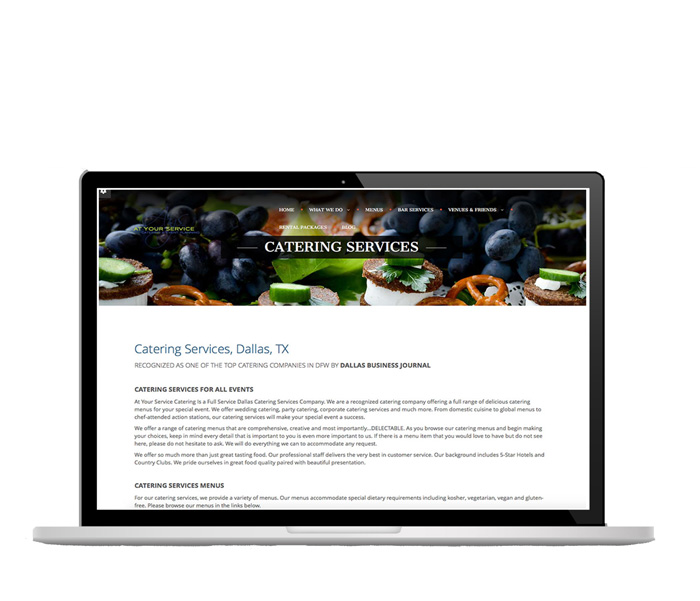 WordPress website updates, AYS Catering, Dallas, TX