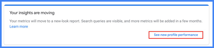 Google My Business Insights - New Profile Performance Selection