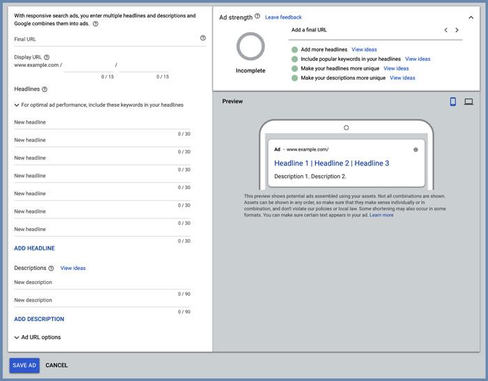 responsive search ad setup screen